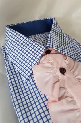 элегантный_розовый жабо_ блузка женская