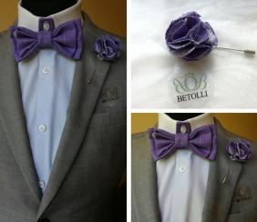 piepogājams taurins, lillā krāsā un žaketes piespraude handmade