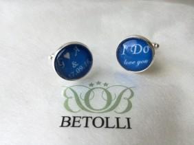personalizētas aproču pogas Ido, zilas aproču pogas